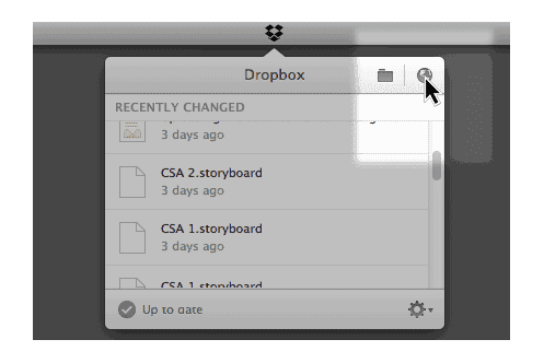 2. When Dropbox is synced I open the web interface by clicking on the globe icon