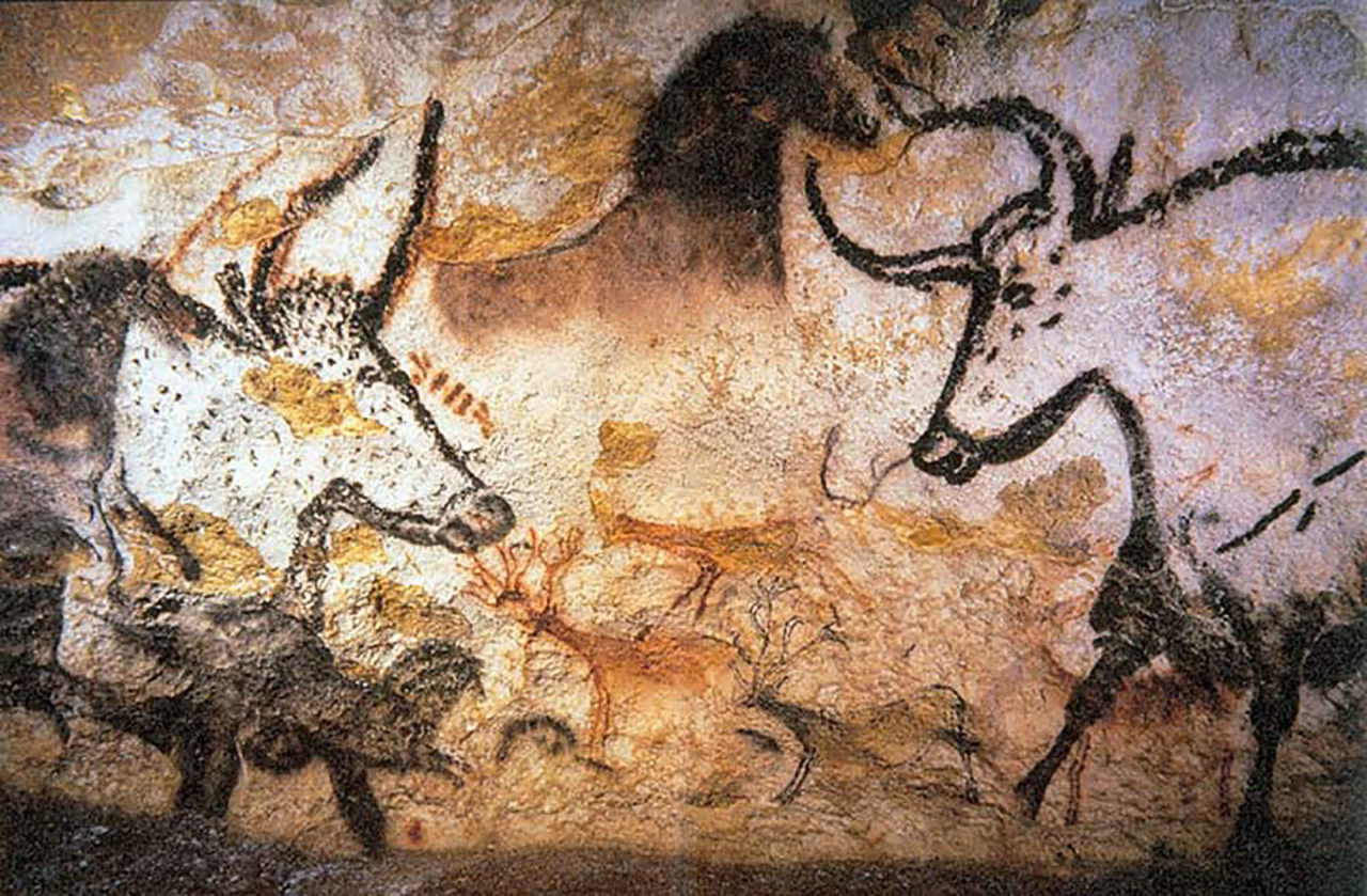 Cave paintings from Lascaux caves, circa 15,000BC.